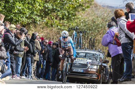 Conflans-Sainte-Honorine,France-March 6,2016: The French cyclist Alexis Vuillermoz of AG2R La Mondiale Team riding during the prologue stage of Paris-Nice 2016.