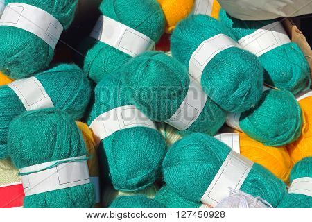 Big Bunch of Green Worsted Wool Knitting Yarn Lot