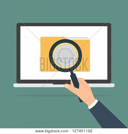 Businessman hold a magnifying glass see a computer laptop PC with unlock folder with combination lock. Vector illustration computer security and data privacy concept.