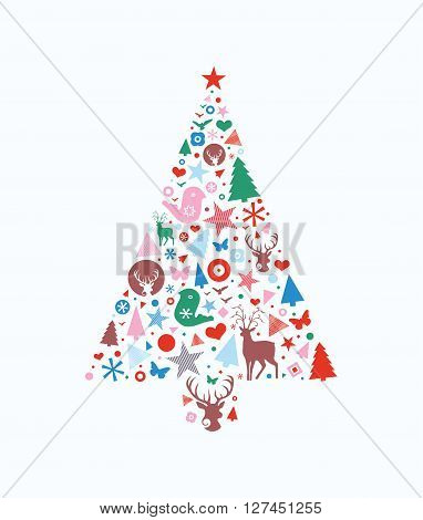 Abstract decorative Christmas tree shape filled with different seasonal icons.