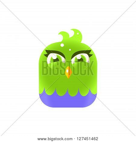 Green Girly Chick Square Icon Colorful Bright Childish Cartoon Style Icon Flat Vector Design Isolated On White Background