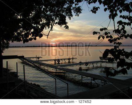 Gorgeous Summer Sunset On Lake