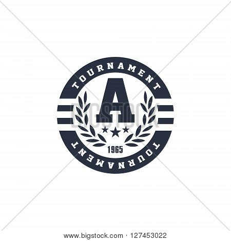 Classic Round Sport  Black And White Vintage Design Isolated On White Background Vector Print
