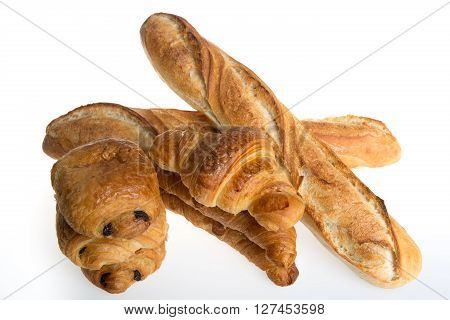 Studio Shot Of A Some Typical French Viennoiseries And Baguette