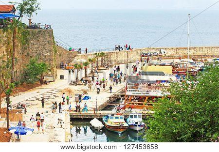 ANTALYA, TURKEY - MAY 03, 2012: Harbor in old town (Kaleici) in Antalya, Turkey