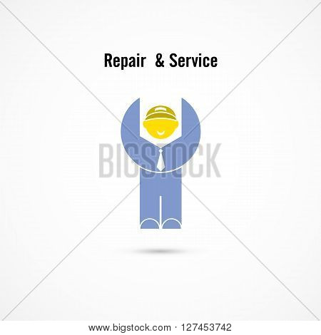 Maintenance and repair worker logo elements design.Maintenance service and engineering mascot symbol.Business and industrial concept.Vector illustration