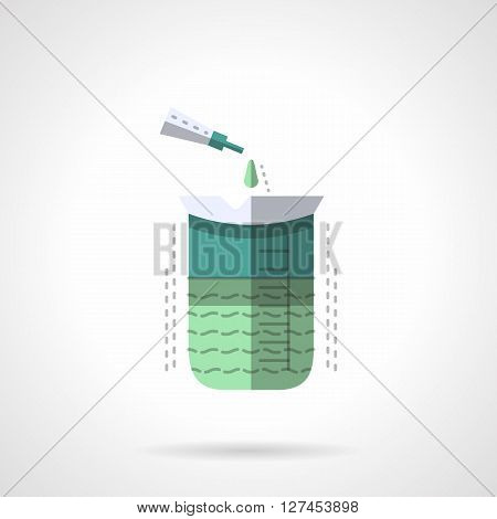 Measuring flask with green chemical solution and pipette. Laboratory equipment. Chemical, medical and biology research. Flat color style vector icon. Web design element for site, mobile and business.