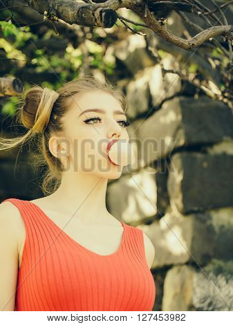 Woman With Chewing Gum Bubble