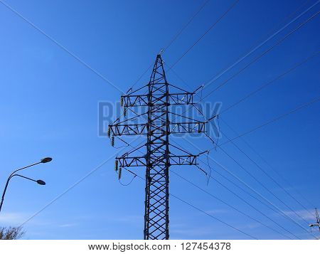 The high-voltage line is constructed for transportation of electricity on a long distance