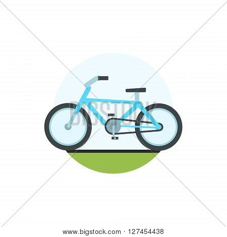 Bicycle Round Sticker In Minimalistic Bright Colorful Flat Vector Design Isolated On White Background