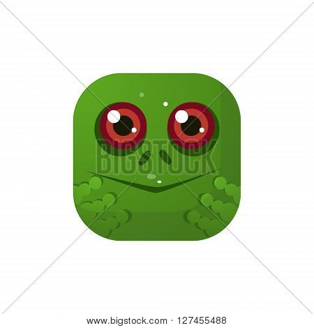 Frog  Square Icon Colorful Bright Childish Cartoon Style Icon Flat Vector Design Isolated On White Background
