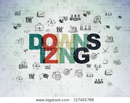 Business concept: Painted multicolor text Downsizing on Digital Data Paper background with  Hand Drawn Business Icons
