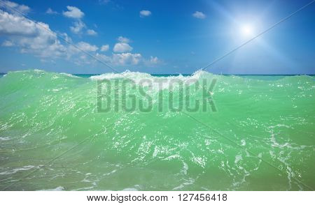 Sea wave breeze. Nature composition.