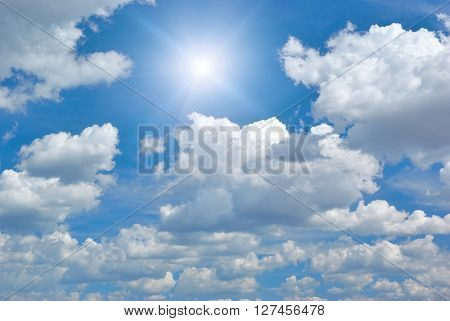 Blue skylight and fluffy cloud. Composition of nature.