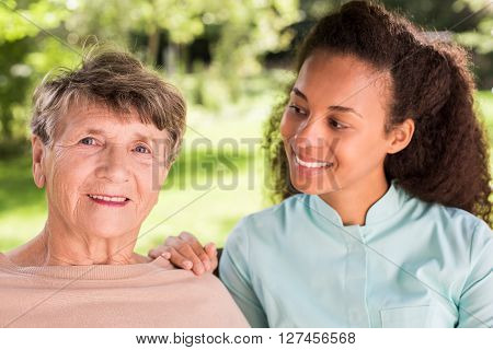 Portrait Of Woman And Caregiver