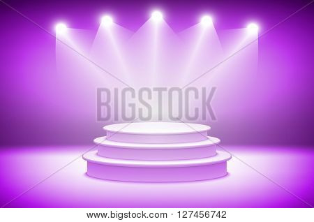 3D Pink Stage Light Background Theatrical Background. Scene And Pink Curtains. Pink Podium On A Back
