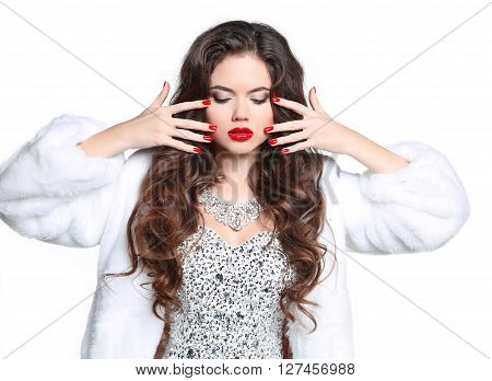 Red Lips And Manicured Nails. Winter Brunette Woman In Luxury White Mink Fur Coat. Beauty Fashion Mo