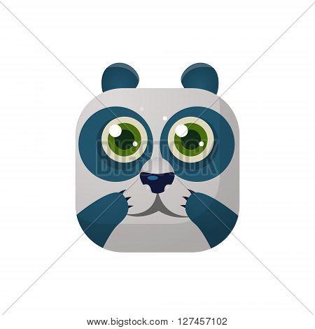 Panda Square Icon Colorful Bright Childish Cartoon Style Icon Flat Vector Design Isolated On White Background
