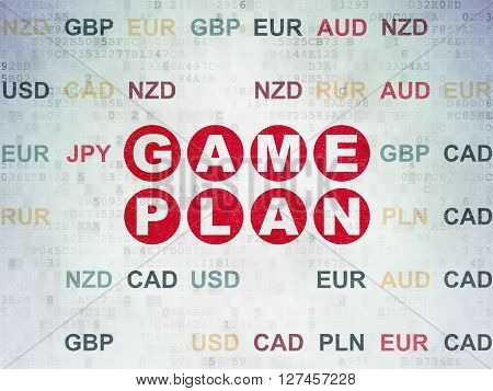 Finance concept: Painted red text Game Plan on Digital Data Paper background with Currency