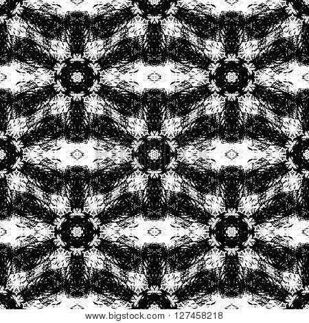 Fantasy abstract seamless pattern made with ink. Monochrome grunge textured cover. Black and white modern freehand background with destroyed ornament. Vector illustration.