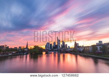 Frankfurt Skyline And Main River At Sunset