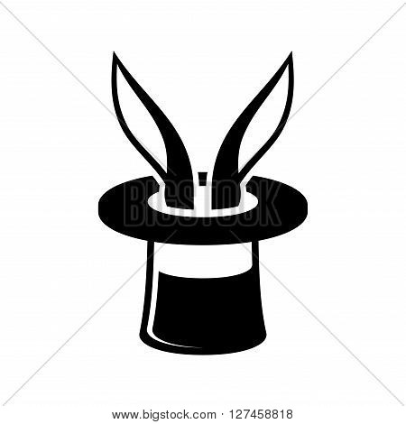 Magic Trick Rabbit in Wizard Hat Icon. Vector Illustration