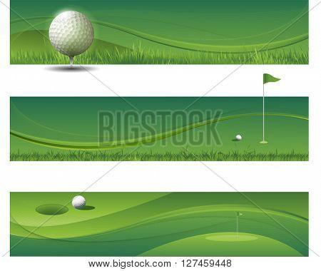 Tree modern green golf banners
