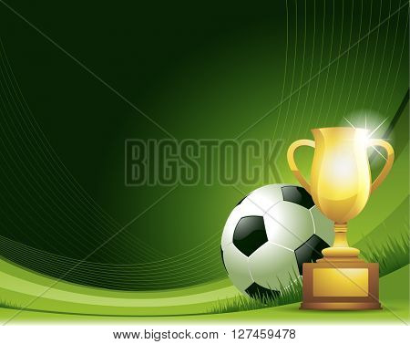 Green Soccer background with ball and trophy