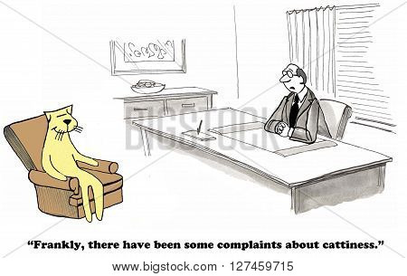 Business cartoon about workers complaining of cattiness.