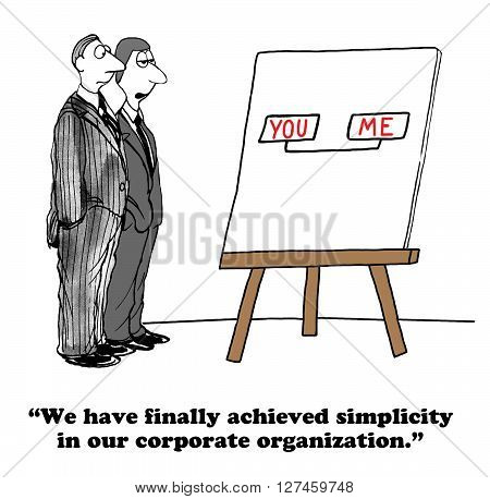 Business cartoon about a very simple organizational structure.