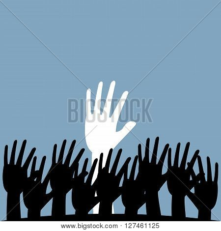 Hand rising from ground with black and white color. Vector illustration different ideas concept design.