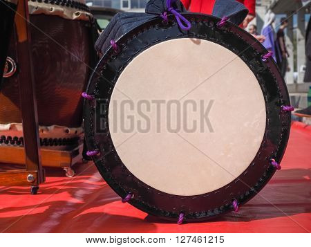 A traditional japanese percussion instrument Taiko and okedo. Close-up