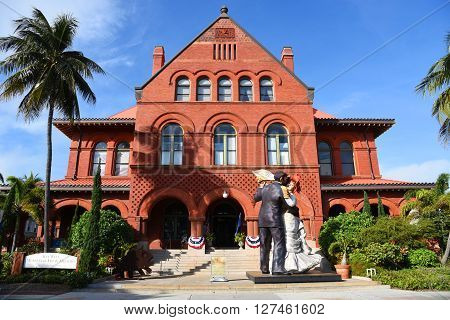 KEY WEST, FL, USA - JAN 1: Old Post Office and Custom house, currently as Key West Museum of Art & History on Jan 1st, 2015 in downtown Key West, Florida, USA.