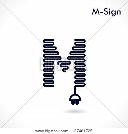 Creative M- letter icon abstract logo design vector template.Creative M- alphabet vector design.Business and education creative logotype symbol.Vector illustration