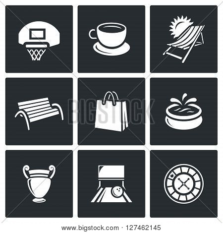 Basketball board, Cup of Coffee, Resort, Benche, Bag, Fountain, Vase, Bowling Alley, Roulette