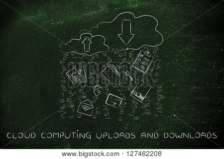 Cloud Computing Uploads & Downloads, Document And Code Rain