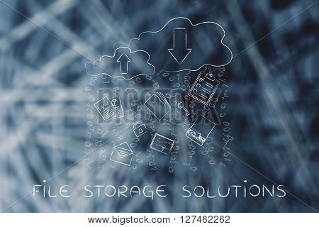 File Storage Solutions, Cloud With Document & Code Rain