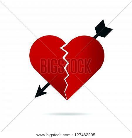 heart break illustration with arrow in red
