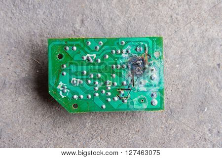 Electronic circuits burn. close-up, technology, damaged system