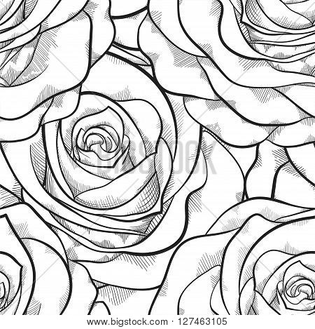 beautiful black and white seamless pattern in roses with contours. Hand-drawn contour lines and strokes. Perfect for background greeting cards and invitations to the day of the wedding birthday and Valentine's Day