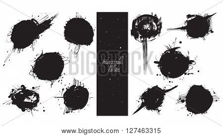 Set of 10 large circles made with hand and liquid ink freehand with lots of splashes and blob brush smears. Vector black and white illustration good for creative designs drawn with imperfections.