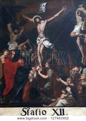 KOTARI, CROATIA - SEPTEMBER 16: 12th Stations of the Cross, Jesus dies on the cross, Church of Saint Leonard of Noblac in Kotari, Croatia on September 16, 2015.