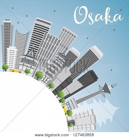 Osaka Skyline with Gray Buildings, Blue Sky and Copy Space. Business and Tourism Concept with Modern Buildings. Image for Presentation, Banner, Placard or Web Site.