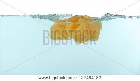 Noodles falling in water