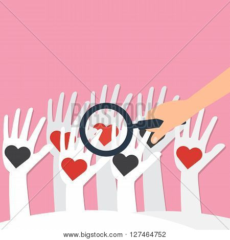 Human hand hold a magnifying glass for find love heart on white hands. Vector illustration looking for love concept.