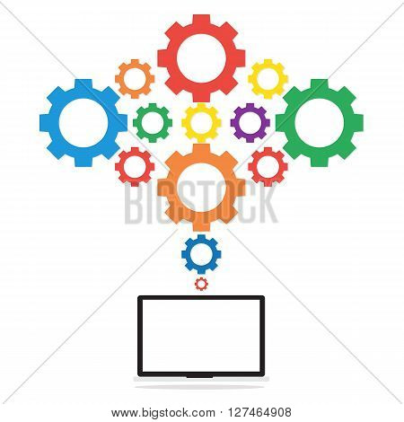 Computer laptop pc connected to multi color gears cloud on white background. Vector illustration cloud computing concept design.