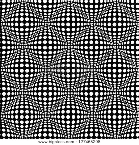 Seamless polka dot pattern with optical 3D effect. Vector art.