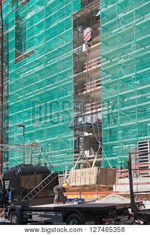 FRANKFURT, GERMANY - APRIL 22, 2016: material embarkation on the construction site europaviertel in Frankfurt Germany