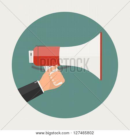 Businessman hand holding megaphone sign. Vector illustration flat business concept design.