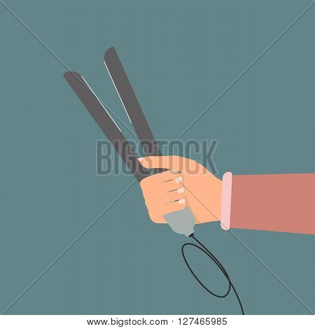 Woman hand with a hair straightener. Vector illustration flat design beauty and make up concept.